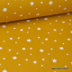 Tissu coton imprimé étoiles moutarde au mètre