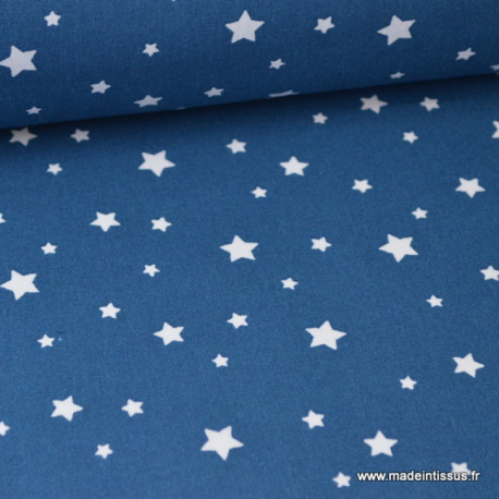 Tissu coton imprimé dessin étoiles multi bleu indigo