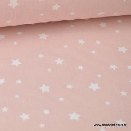 Tissu coton imprimé dessin étoiles multi rose blush - Oeko tex