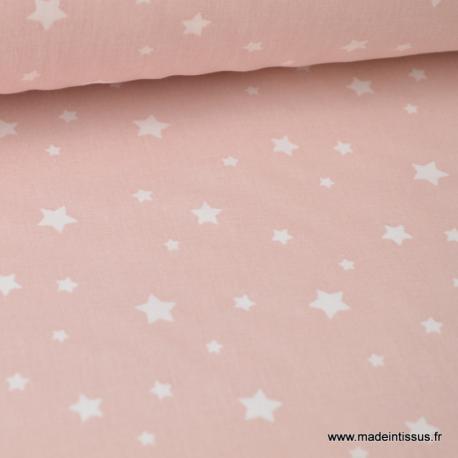 Tissu coton oeko tex imprimé étoiles rose blush