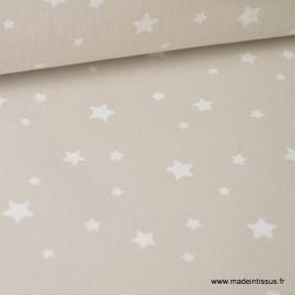 Tissu coton oeko tex imprimé étoiles beige Lin