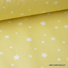 Tissu coton oeko tex imprimé étoiles JAUNE CITRON .x1m