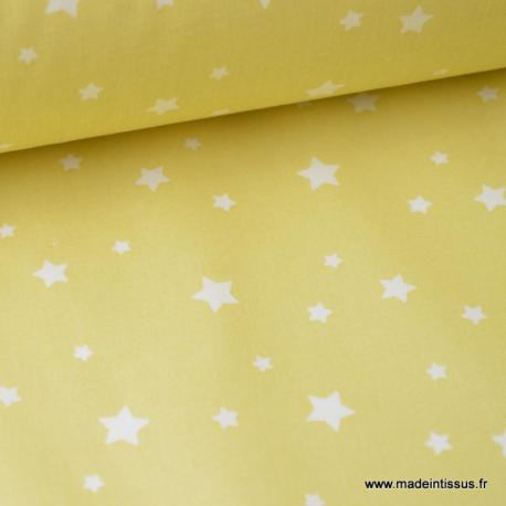 Tissu coton oeko tex imprimé étoiles JAUNE CITRON