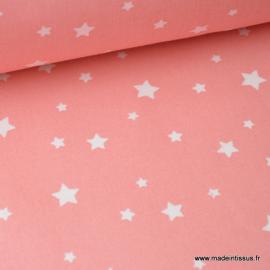 Tissu coton OEKO TEX imprimé étoiles CORAIL .x1m