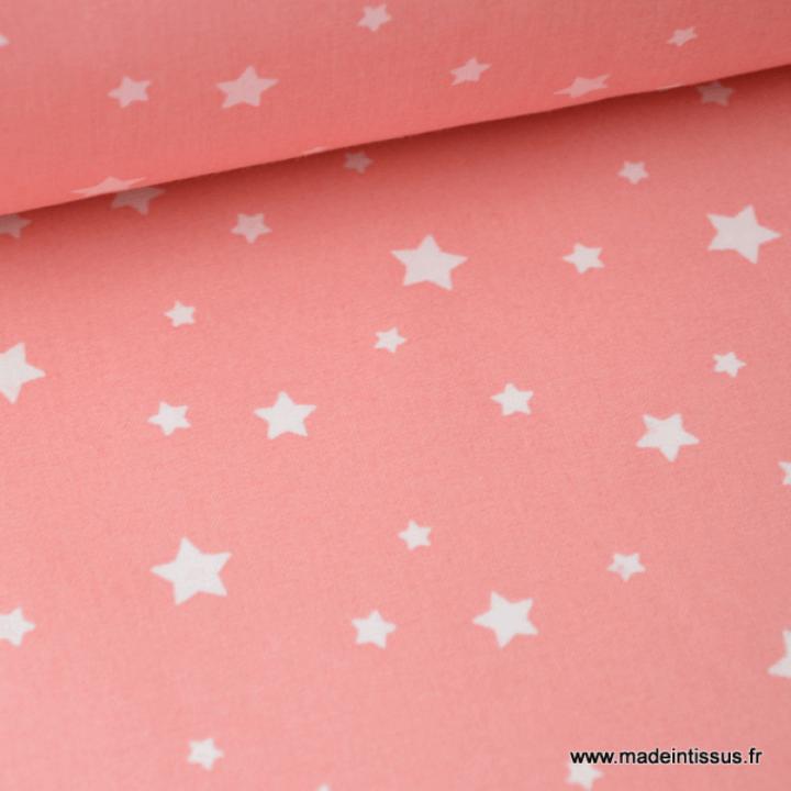 Tissu coton OEKO TEX imprimé étoiles CORAIL
