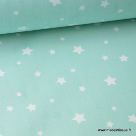 Tissu coton oeko tex imprimé étoiles Menthe