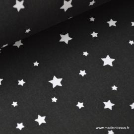 Tissu coton oeko tex imprimé étoiles NOIR .x1m