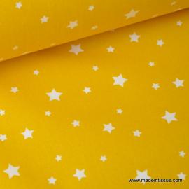 Tissu coton oeko tex imprimé étoiles jaune au mètre