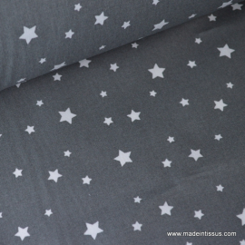 Tissu coton oeko tex imprimé étoiles anthracite .x1m