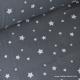 Tissu coton oeko tex imprimé étoiles anthracite au mètre