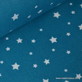 Tissu coton oeko tex imprimé étoiles pétrole .x1m