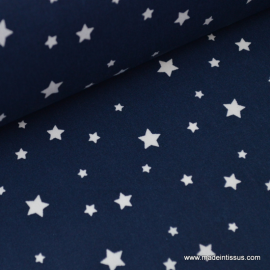 Tissu coton oeko tex  imprimé étoiles bleu marine