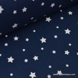 Tissu coton oeko tex  imprimé étoiles bleu marine .x1m