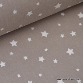 Tissu coton oeko tex imprimé étoiles taupe