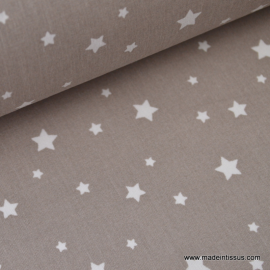 Tissu coton oeko tex imprimé étoiles taupe au mètre