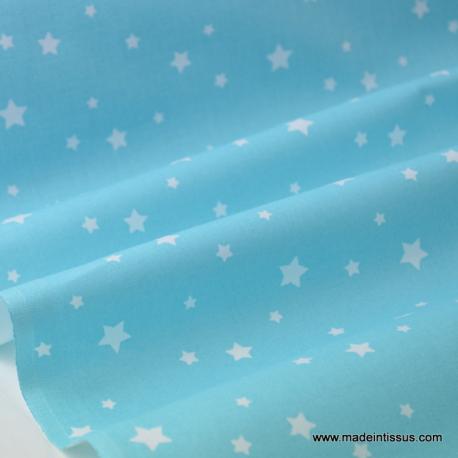 Tissu coton oeko tex imprimé dessin étoiles turquoise au mètre