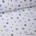 Tissu popeline coton imprimé étoiles bleues et grises