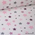 Tissu popeline coton imprimé étoiles roses, parmes et grises