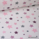 Tissu popeline coton imprimé Hirondelles fond Rose