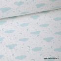Tissu popeline coton imprimé Nuages et étoiles Menthe fond blanc