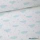 Tissu popeline coton imprimé Nuages et étoiles bleues fond blanc
