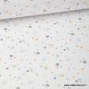 Tissu coton oeko tex imprimé petites étoiles bleues fond blanc