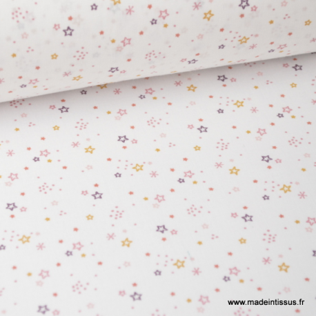 Tissu coton oeko tex imprimé petites étoiles mauves fond blanc