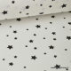 Tissu Coton oeko tex imprimé étoiles noir fond blanc