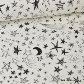 Tissu sweat leger frenchterry imprimé Etoiles noir et blanc .x1m