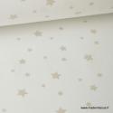 Tissu Coton imprimé étoiles Lin fond blanc
