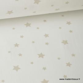 Tissu Coton imprimé étoiles beige fond blanc