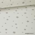 Tissu Coton oeko tex imprimé étoiles gris fond blanc