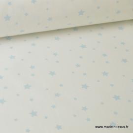 Tissu Coton oeko tex imprimé étoiles ciel fond blanc