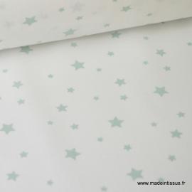Tissu Coton oeko tex imprimé étoiles Celadon fond blanc