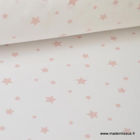 Tissu Coton oeko tex imprimé étoiles roses fond blanc