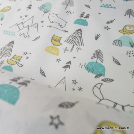 Tissu coton oeko tex imprimé chiens, sapins, étoiles coloris menthe