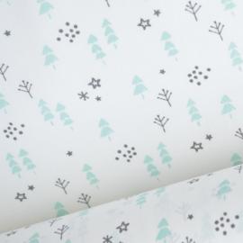 Tissu coton oeko tex imprimé petits sapins et étoiles Menthe et gris .x1m
