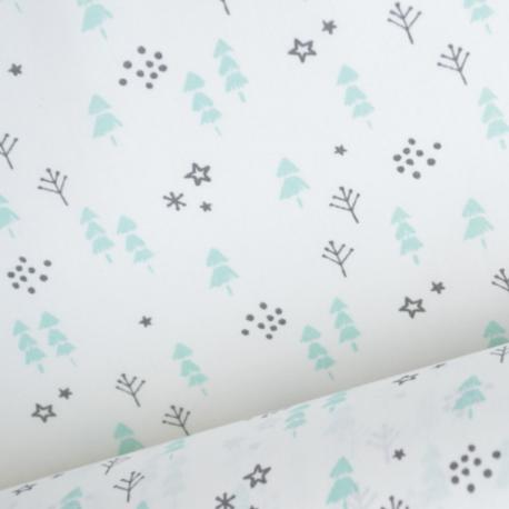 Tissu coton oeko tex imprimé petits sapins et étoiles Menthe et gris