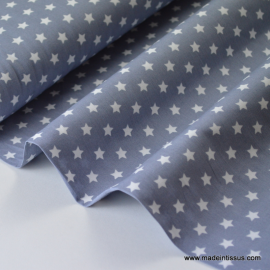 Tissu popeline coton gris étoiles blanches .x1m