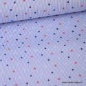 Tissu Popeline Stretch à rayures bleus et blanches imprimé étoiles