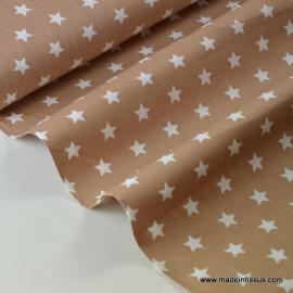 Tissu popeline coton beige étoiles blanches . x1m