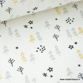 Tissu 100% coton imprimé petits sapins et étoiles Or, grises et noir .x1m