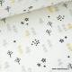 Tissu 100% coton imprimé petits sapins et étoiles Or, grises et noir x50cm