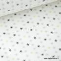 Tissu 100% coton imprimé étoiles Or, grises et noir .x1m