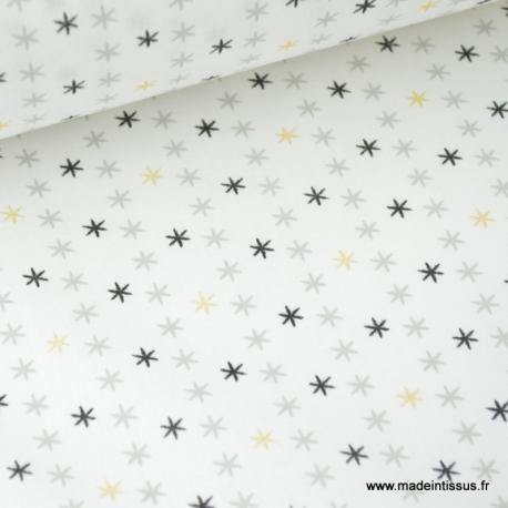 Tissu coton oeko tex imprimé étoiles Or, grises et noir x50cm