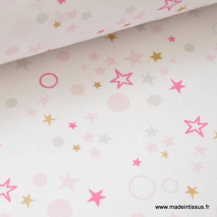 Tissu coton oeko tex dessin CIEL ETOILE rose et  gris
