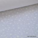 Tissu coton imprimé dessin étoiles blanc sur fond blanc . x1m