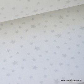 Tissu coton imprimé dessin étoiles argentées sur fond blanc .x1m