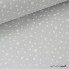 Tissu coton imprimé dessin étoiles blanc sur gris .x1m