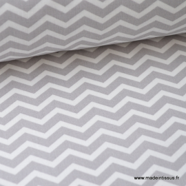 Tissu coton oeko tex imprimé chevrons zigzag GRIS au mètre